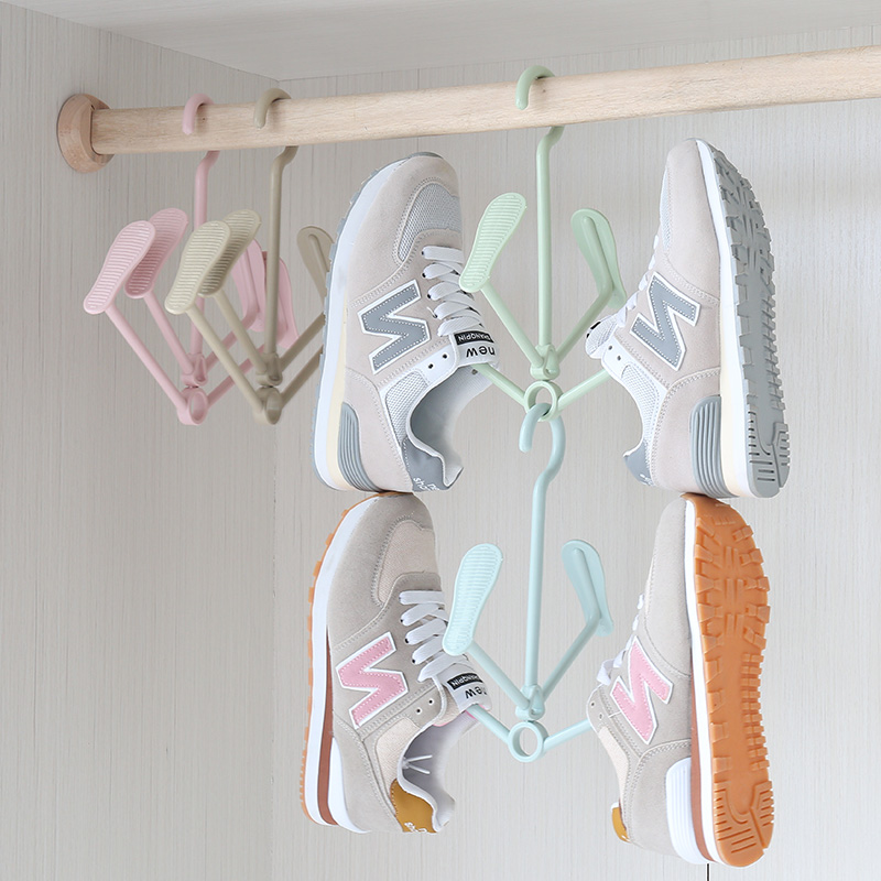 Hanging Shoe Rack Rotating Four Hook Portable Drying Wet And Dry Dual Use Clothes Hanger Windproof Plastic