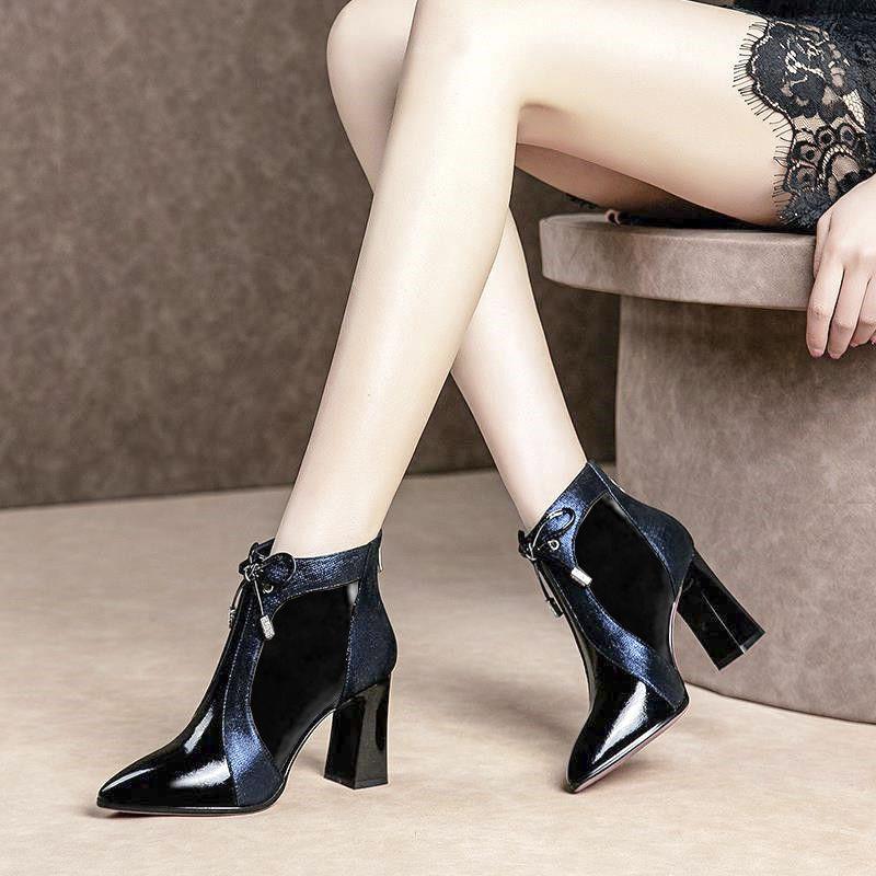 P13新款马丁高帮秋冬季加棉女靴尖头高跟靴女鞋短靴性感粗跟女靴