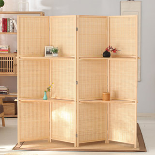 Chinese bamboo wood wall panels foldable mobile living room office wall panels folding screen porch hotels