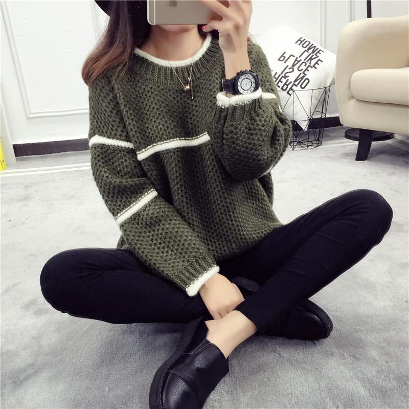 Трикотаж Студент верхняя одежда свитер девушки свободные рукав головы Хан издание свитер осень женская одежда топы осень свитер пальто