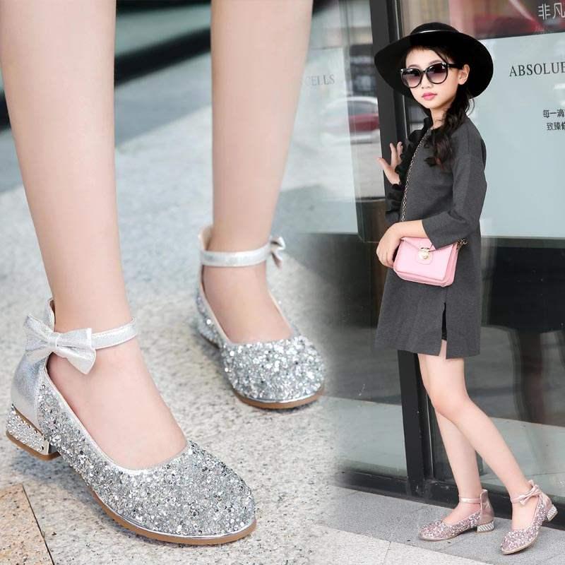 童鞋女童皮鞋高跟水晶小公主鞋春季新款大童儿童单鞋演出