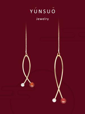 芸所中式园林系列年年有鱼耳线 不对称设计锦鲤新年转运红色耳饰