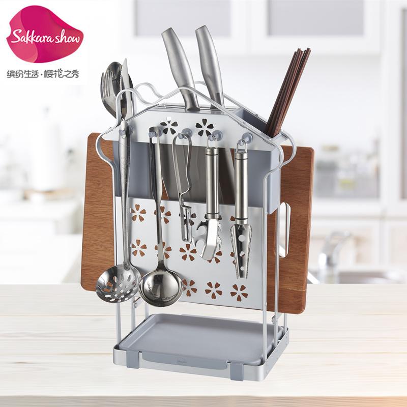 太空铝刀架厨房用品多功能筷子v筷子架刀具砧板架沥水笼菜板置物架