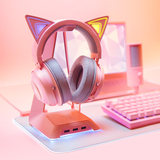 Razer Thunder Snake Pink Crystal Set Pink Girl Beihai Giant Demon Cat Ear Headphone/Mechanical Keyboard/Mouse