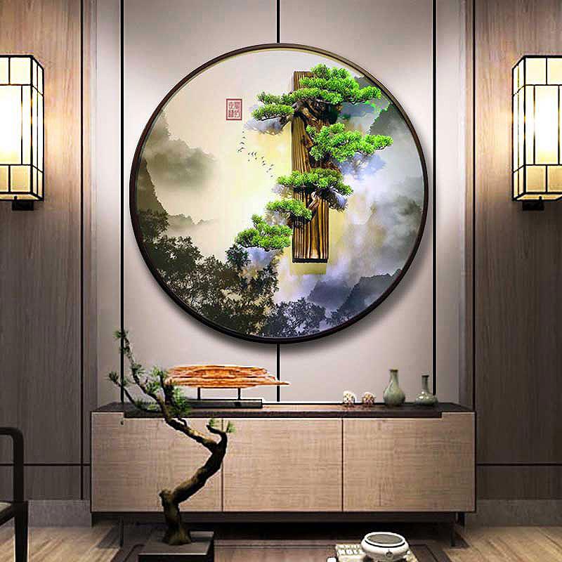 新中式背景招财迎客松山水装饰壁画中国风玄关客厅立体墙圆形油画