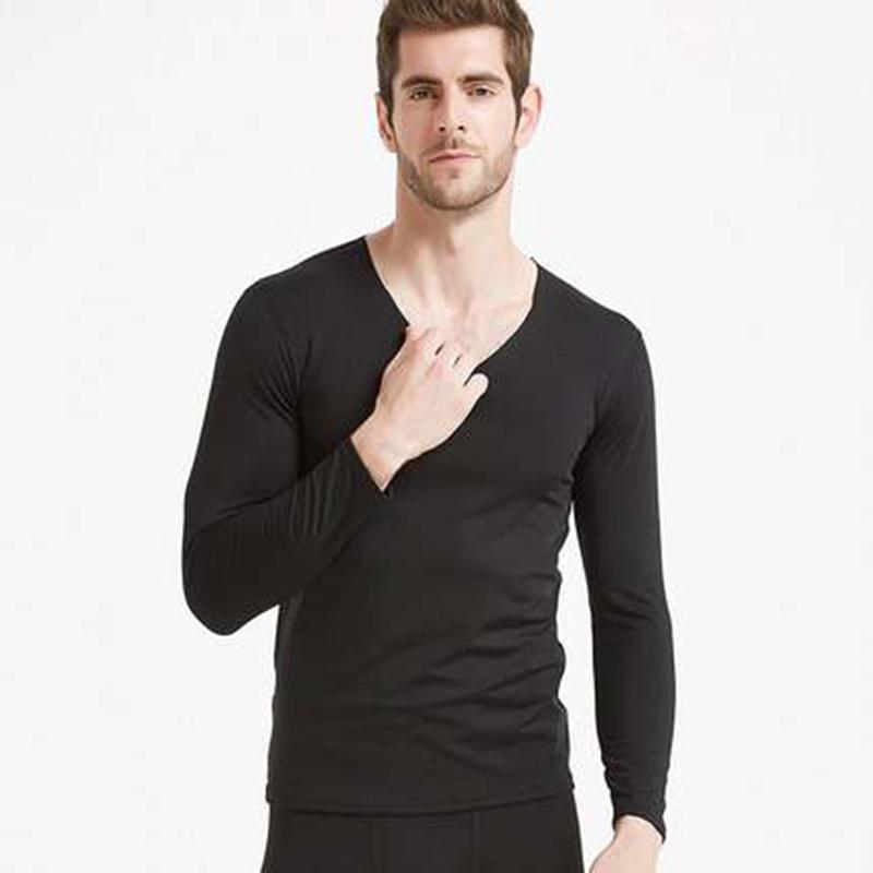【套裝】男士無痕保暖內衣套裝發熱纖維加絨V領秋衣秋褲