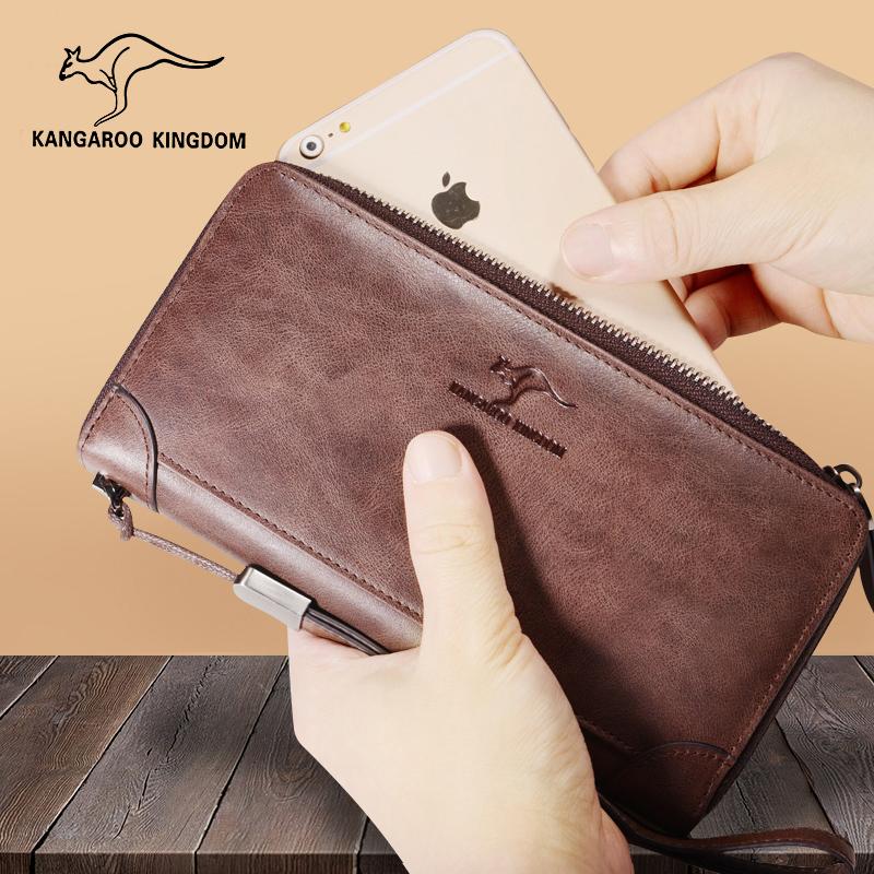 真澳袋鼠新款皮夹子钱包男长款拉链真皮多功能男士手包复古牛皮