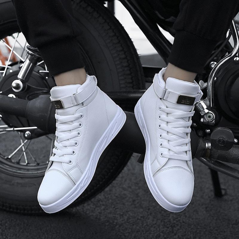 冬季高帮板鞋韩版鞋子男士v鞋子休闲鞋C66潮鞋高邦小白鞋男潮流