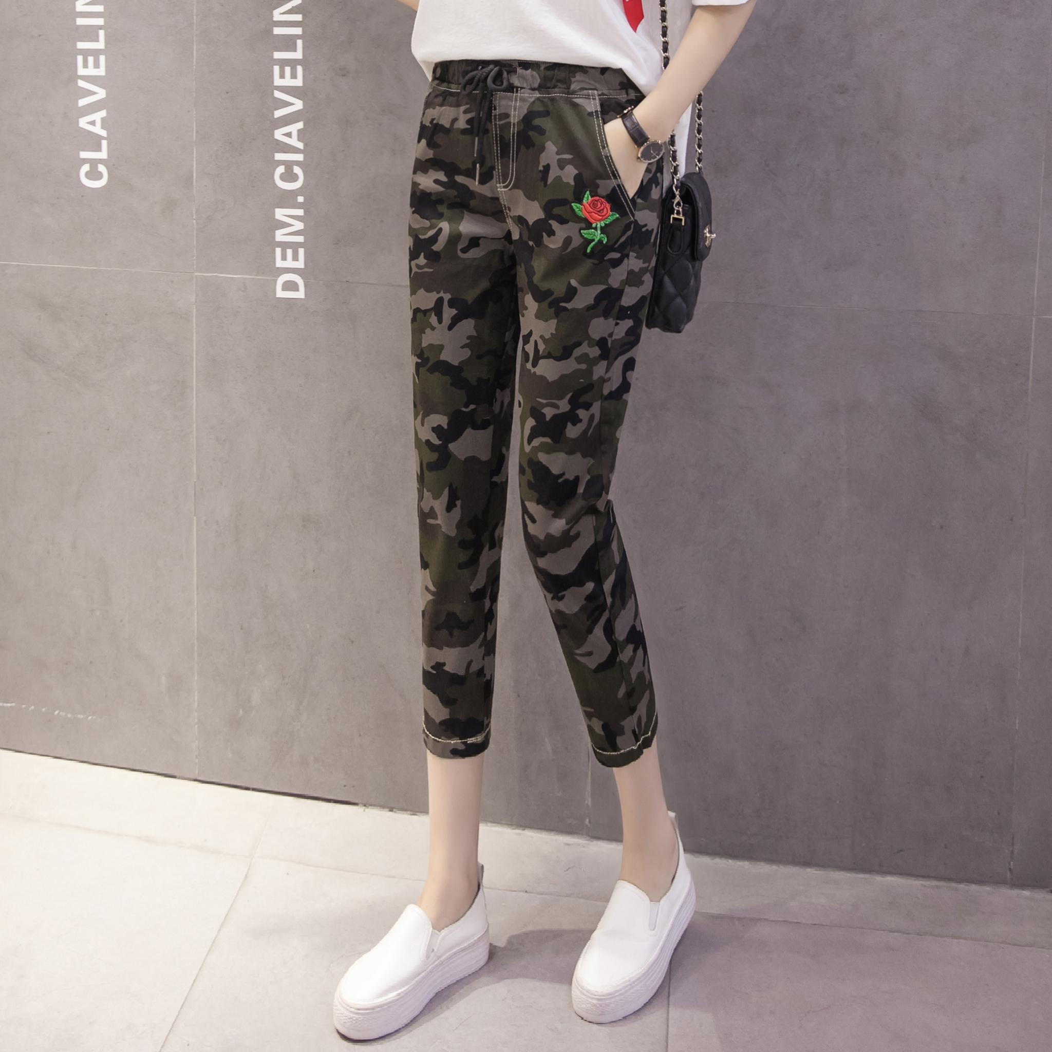 Mùa thu quần tây của phụ nữ đàn hồi eo đàn hồi camo quần quần giản dị là quần giữa mỏng mỏng phần 7 điểm ngụy trang quần ống rộng - Quần Harem