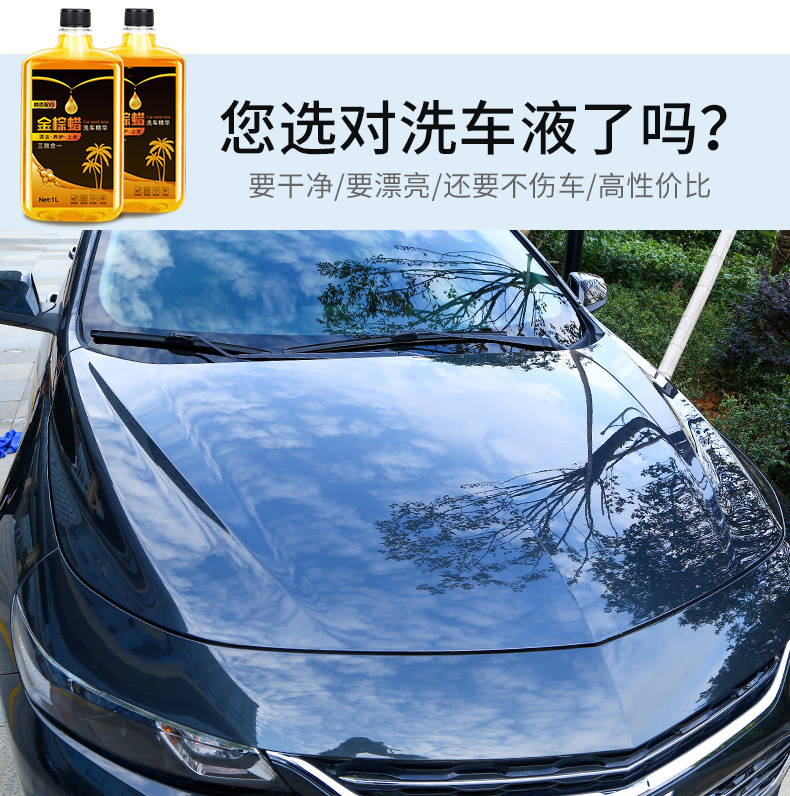 汽车水蜡洗车液泡沫白车清洗剂强力专用去污镀膜上光蜡水黑车套装商品详情图