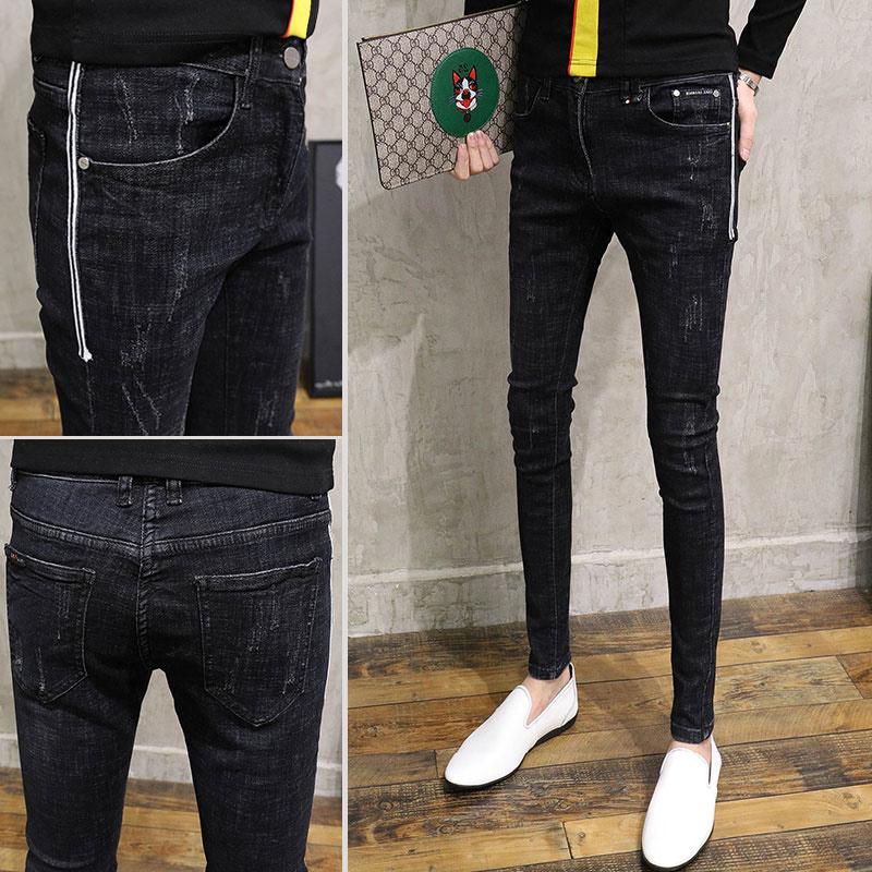 社会人弹力裤牛仔裤男修身韩版小青年小脚显瘦潮流学生裤脚发型师