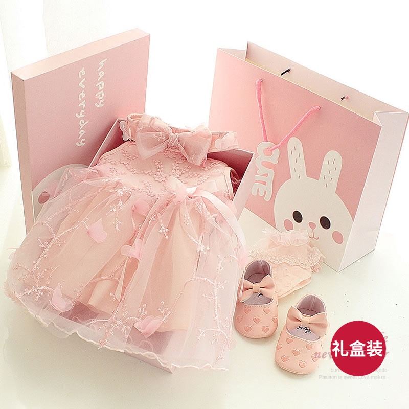 Newborn baby gift box princess dress set spring and summer cotton to send female baby full moon gift year dress & USD 55.20] Newborn baby gift box princess dress set spring and ...