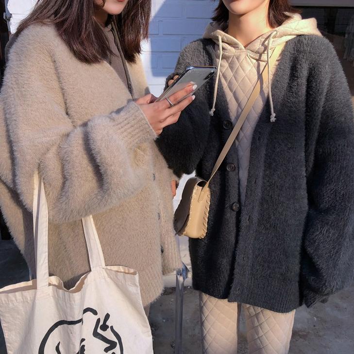 秋冬季新款韩宽松百搭厚针织毛衣开衫外套绒中长款V领灰色女水貂