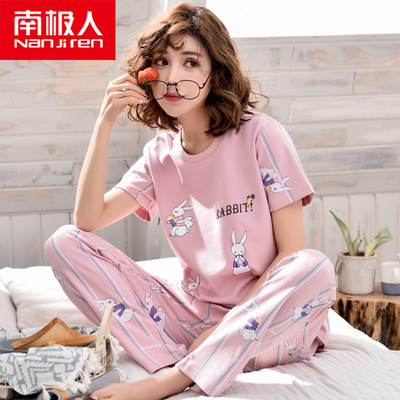 Antarctic pajamas women summer cotton short-sleeved trousers suit Korean cartoon student two-piece thin home service