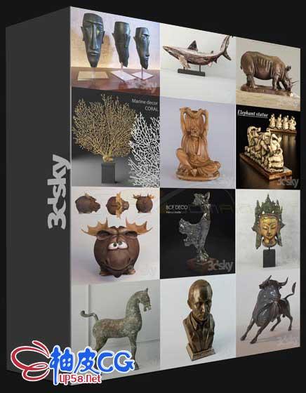 3DSMAX室内装饰艺术雕塑三维模型