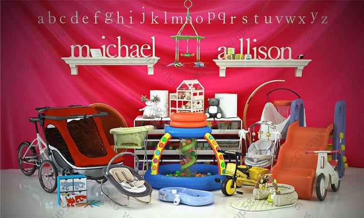 3Dsmax VRay儿童玩具婴儿车床椅精细3D模型合辑