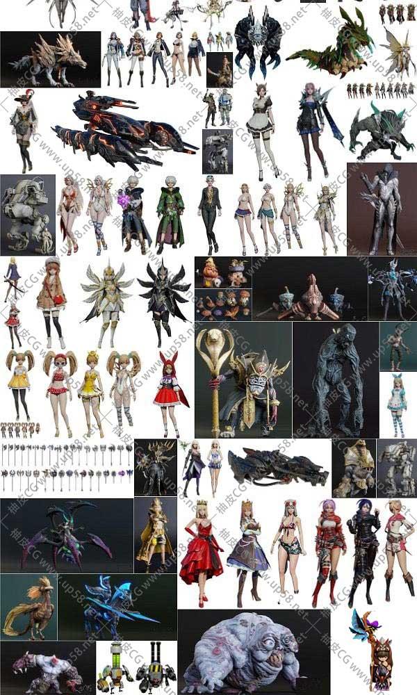 260个Blender游戏风格人物角色装备3D模型合集