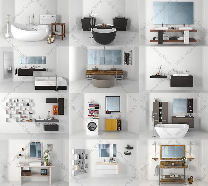 3dsmax VRay室内装饰卫生间镜子壁柜浴缸洗衣机马桶水池精细3D模型