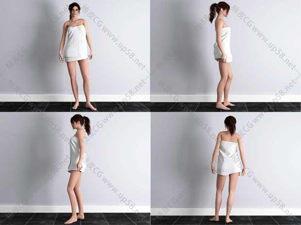 3DSMAX / C4D / MAYA / UE / Blender / SU浴巾女孩角色3D模型