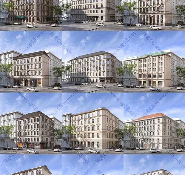 3DSMAX / C4D现代欧式楼房建筑专业高品质3D模型