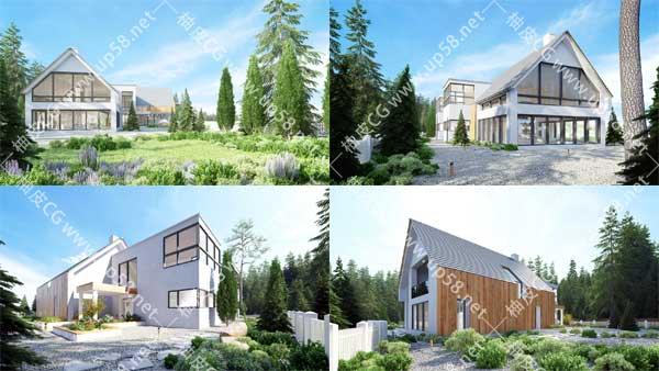 3DSMAX / VRay室内外完整建筑3D模型