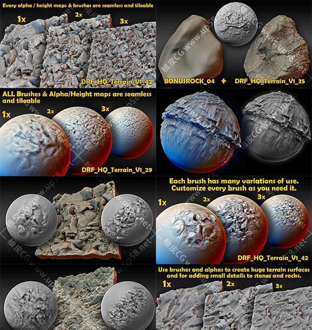 ZBrush岩石石头4K高清无缝雕刻笔刷 + Alpha(Blender, Substance)