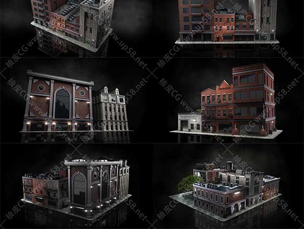 3DSMAX /Blender / C4D / Houdini / Unity / Maya / Unreal现代摩天大楼城市街区3D模型