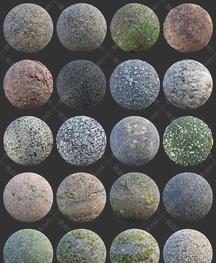 3dmax C4D KeyShot Maya泥土草地石头地面4K高清PBR无缝贴图素材库