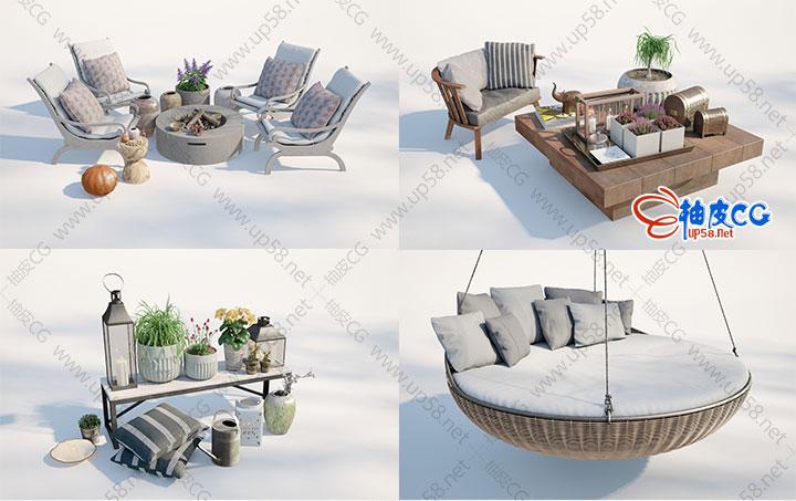 3dsmax VRay室外休闲座椅沙发吊椅室内地毯抱枕植物盆栽器皿精细3D模型