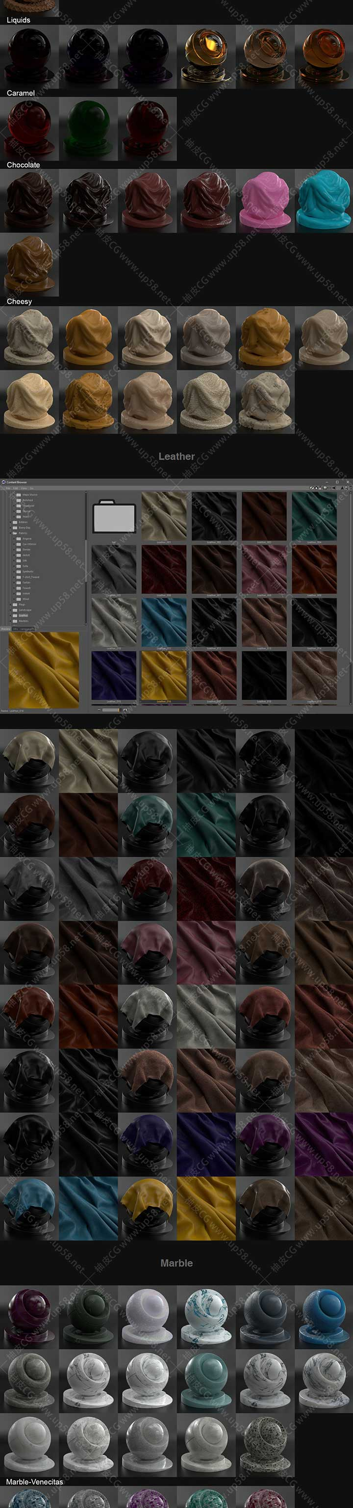 C4D Redshift金属皮革玻璃木材水泥大理石织物漆砖墙材质球预设库