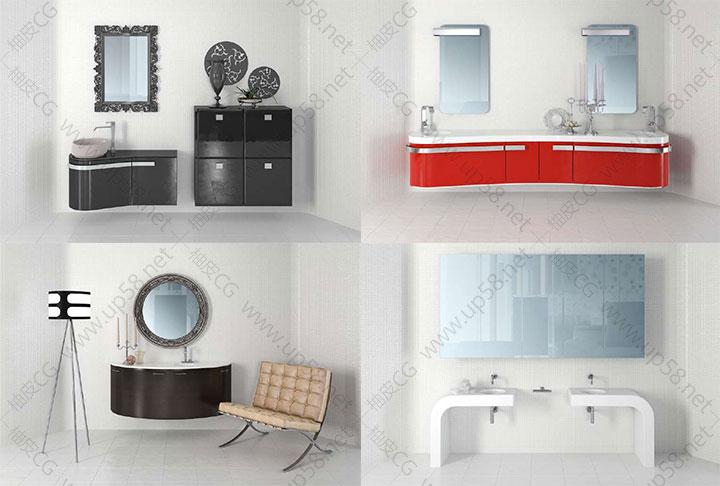 3DsMax VRay室内设计浴室洗漱间高品质3D模型