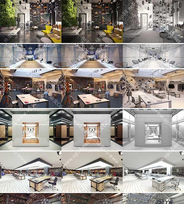 3DSMAX / VRay现代商品宣传展厅场景3D模型