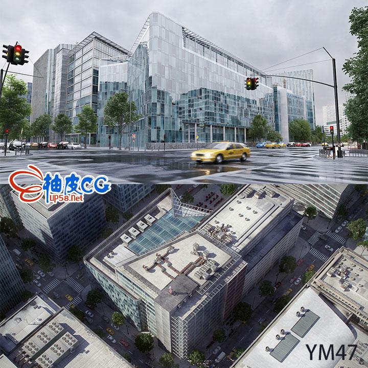 3Dsmax C4D VRay室外城市建筑办公楼写字楼商厦楼公寓楼高品质3D模型