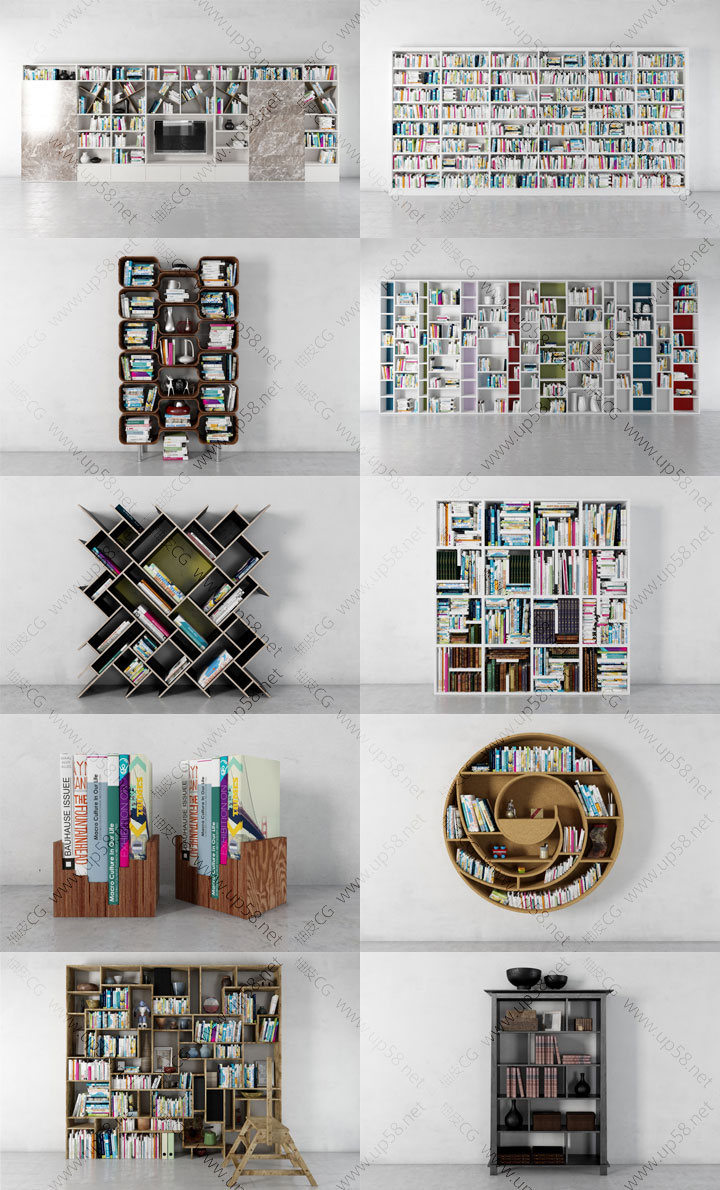 3DSMAX & VRay室内装饰设计现代和复古书架3D模型