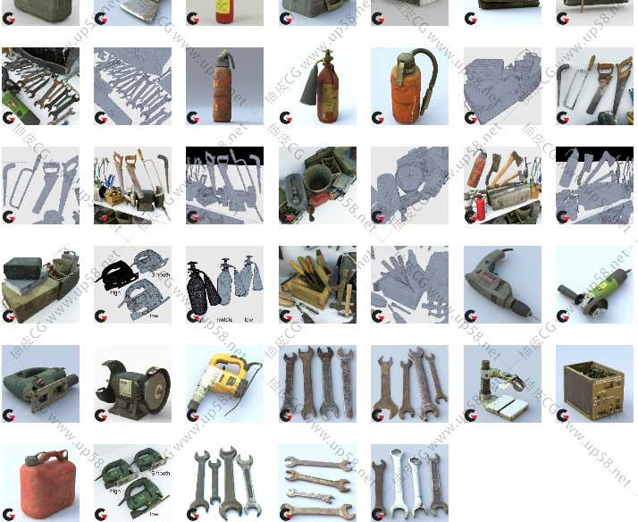 MA / FBX / OBJ工具箱扳手锯子斧头钳子切割器凿子刀具3D模型