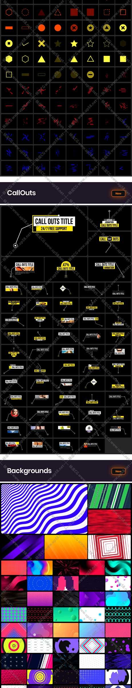 AE脚本 4000+标题文字信息图过渡呼出解释色彩滤镜动画音效工具包