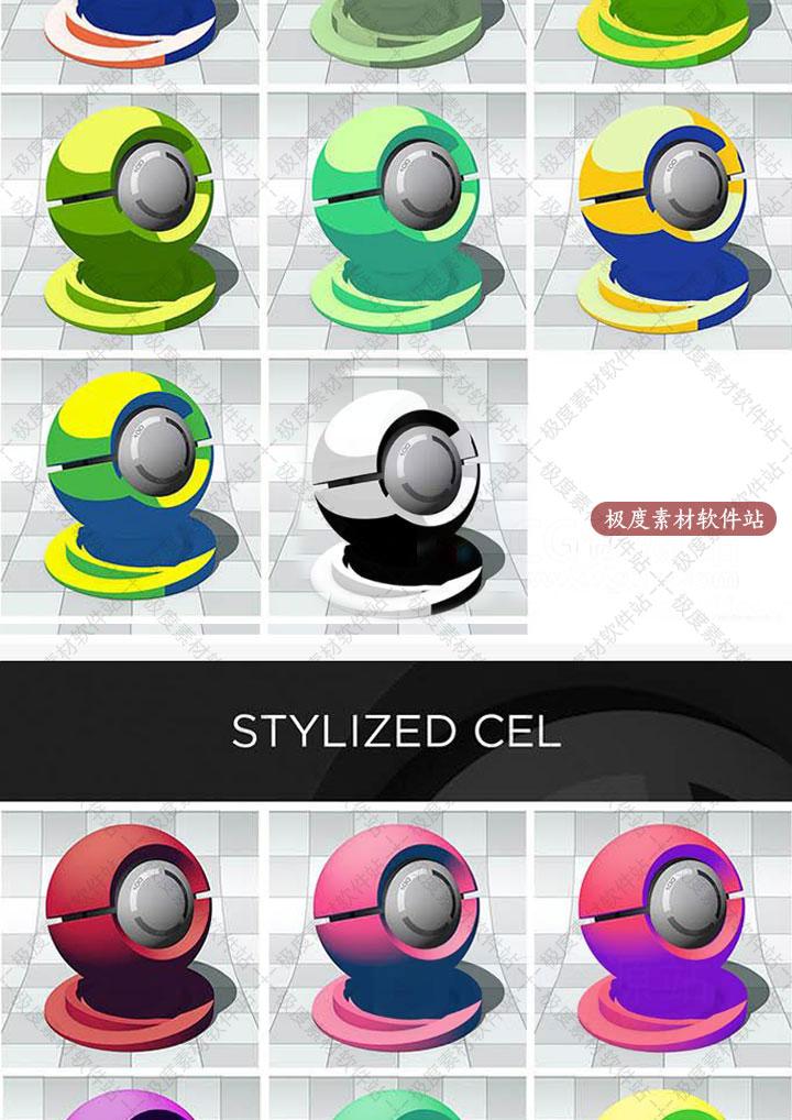 C4D渲染手绘图材质球预设 cinema 4d材质贴图素材库 MG动画渲染