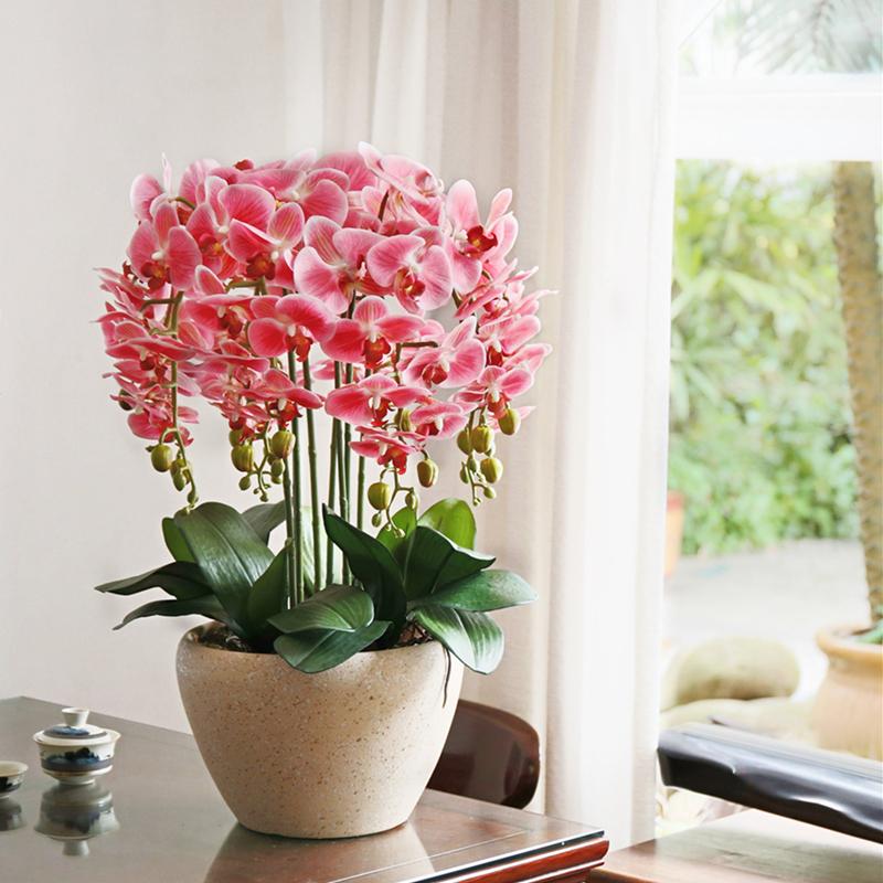 和家PU手感蝴蝶兰仿真花套装假花绢花盆栽整体花艺客厅光触媒绢花