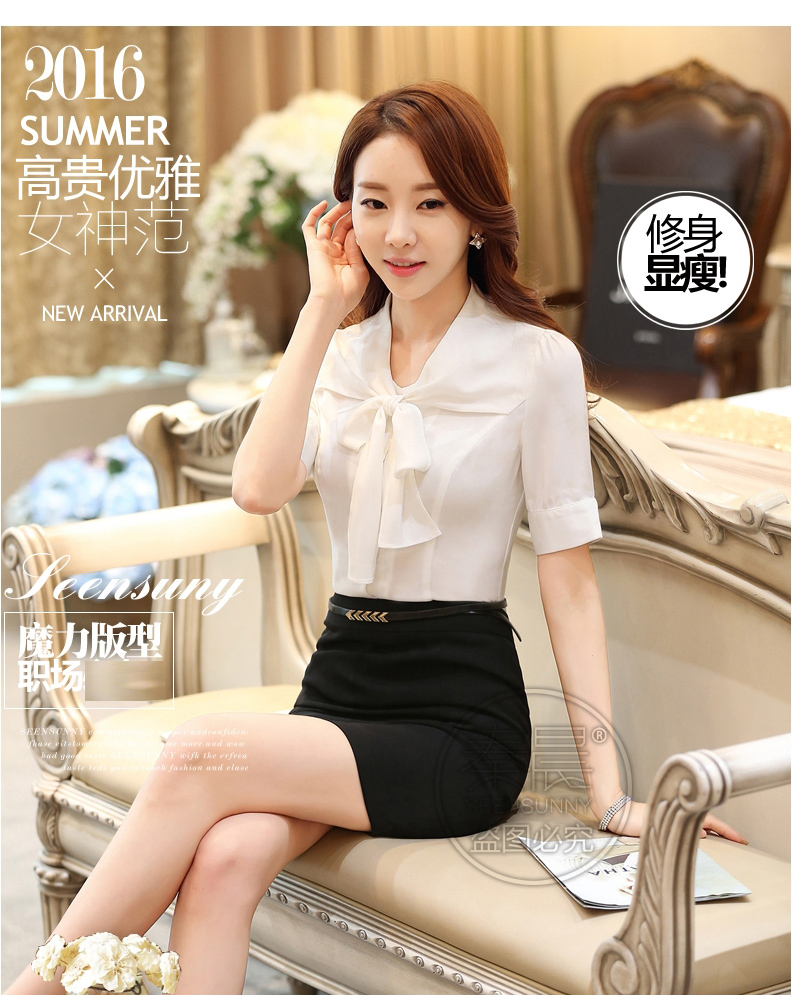 10016b546 Specifications of Professional White Shirt women Summer Short-sleeved Bow  Slim Fit Elegant Shirt Work Clothes Slimming Shirt WorkWear Formal Wear