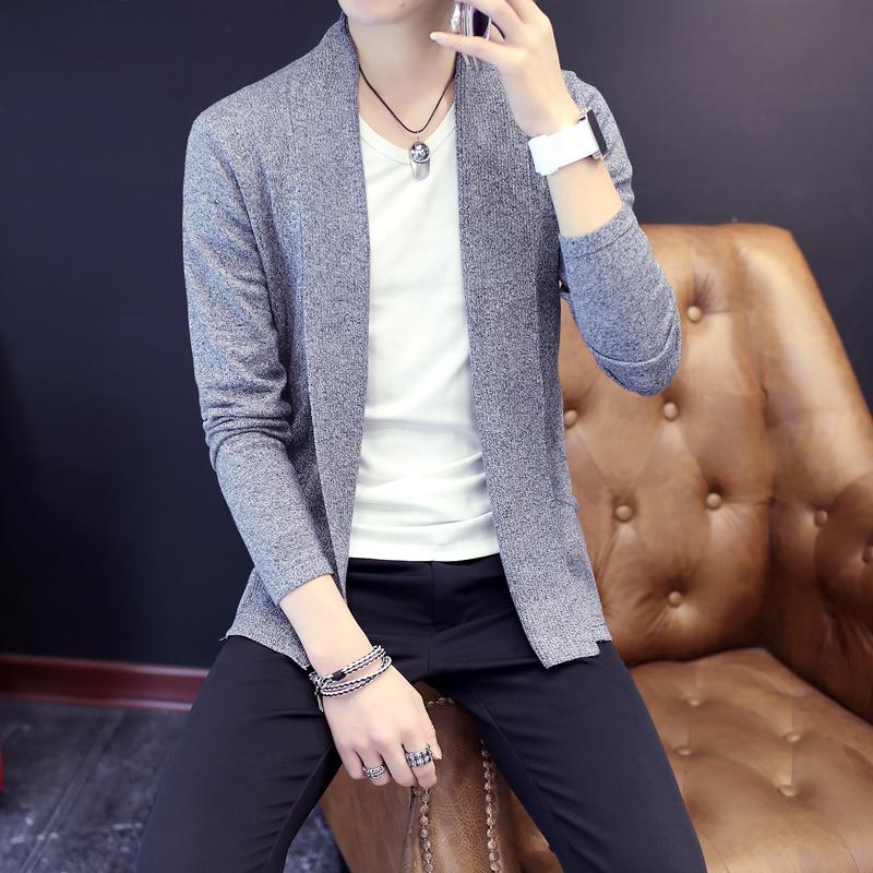 春季2016新款韩版男士针织衫薄款外套春秋青年纯色开衫毛衣男v领