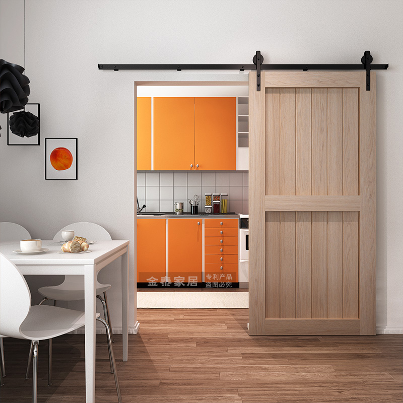 Solid Wood Barn Door Kitchen Hanging Door Sliding Door Sliding Door