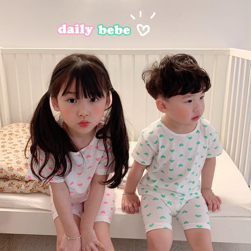 BabyWe韩国代购童装儿童睡衣夏季薄款男童女童爱心空调家居服套装