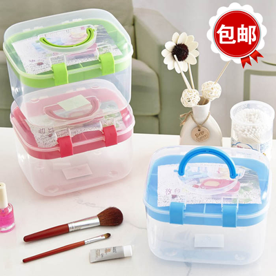 Handbound clamping cosmetic storage box small medicine box needle line box jewelry storage box transparent plastic