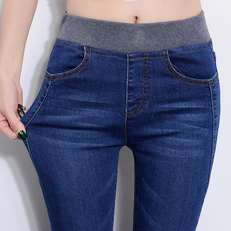 Middle-aged jeans women's nine pants summer thin mom high-waisted stretch middle-aged women's thin cigarette tube pants