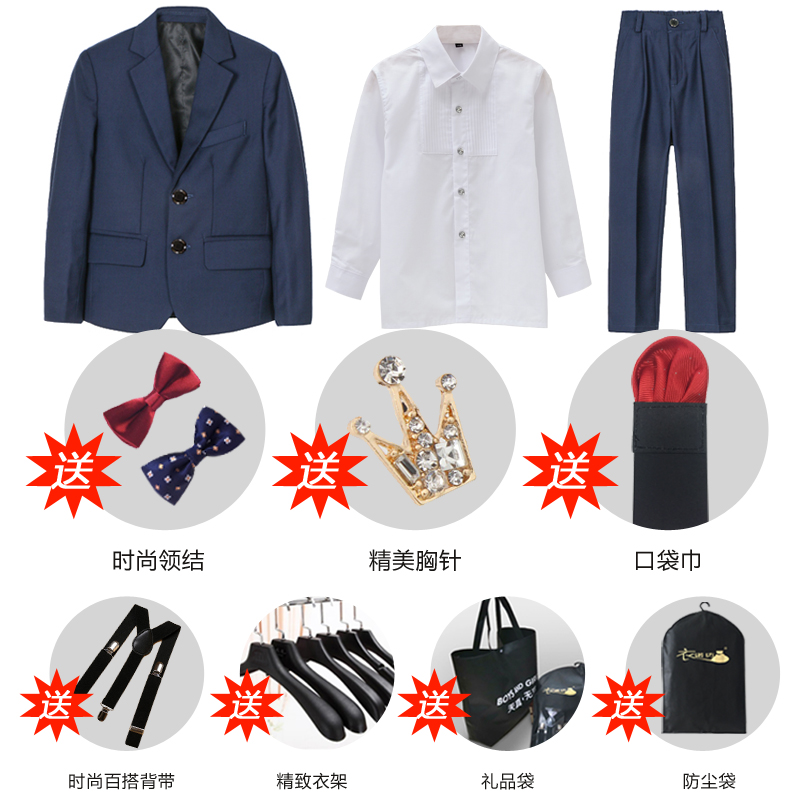 Navy 2 (suit + Shirt + Trousers + Two Bow Tie + Send Accessories)