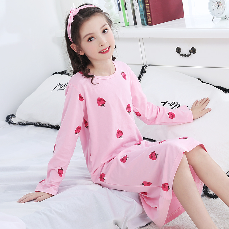 5f7f44522c USD 81.35  Girls nightdress spring and autumn cotton long-sleeved ...