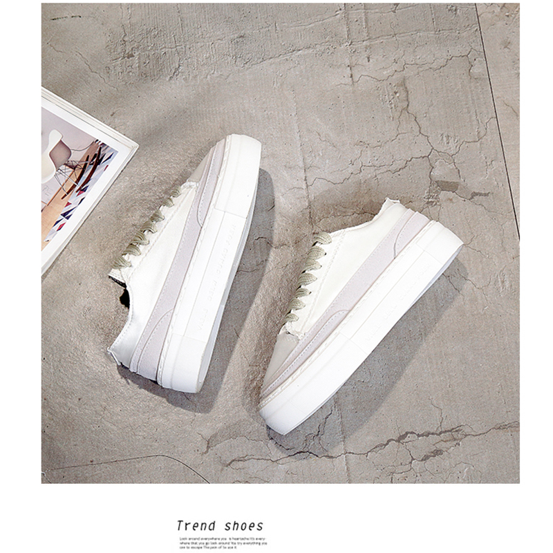 XWWDVV Spain niche shoes casual versatile canvas shoes new thick bottom flat white shoes women 60