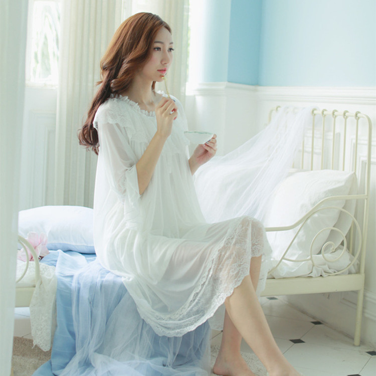 344e3748fc Retro Palace long section of the Home Service female sleeping skirt female  summer cotton lace Korean