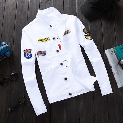 春季牛仔夹克男士韩版修身青少年棒球服潮流男装休闲外套春秋款衣