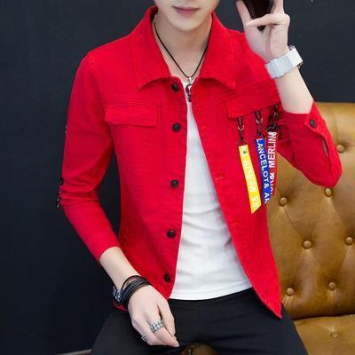 春季牛仔夹克男士韩版修身青少年情侣装春秋款薄款棒球服外套上衣
